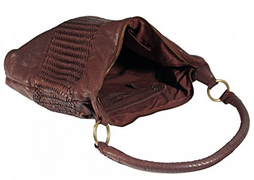 Corvago - Leder Schultertasche Henkeltasche URBAN BAG feiner Flecht-Optik Used-Look Geflochten Shopper MittelFormat Beuteltasche 40x28x8 cm (B x H x T), Farbe:camel Braun