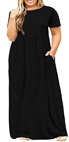 Delcoce Black Maxi Dresses with Pocket Women Loose Short Sleeve Empire Waist XL (In Empire Dress Short Black Sleeve)