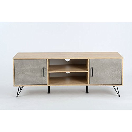 Grey Cement And Natural Finish Tv Entertainment Center