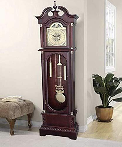 Orologio a pendolo da terra, in legno di ciliegio, con numeri romani ...