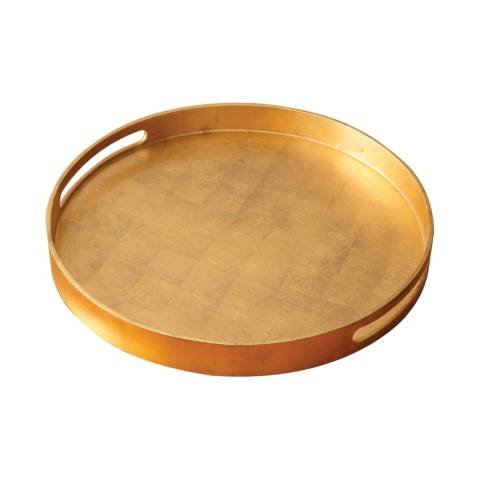 Luxe Gold Leaf Round Gallery Tray 21''| Large Metallic Serving Decorative Bar by Global Views