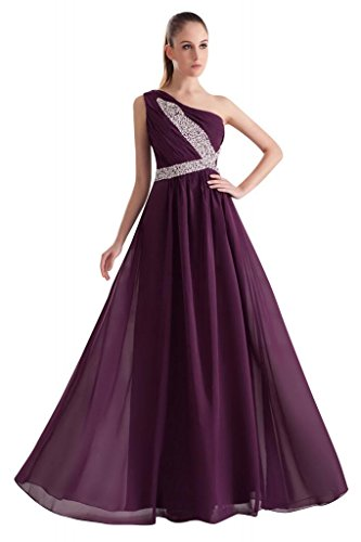 Chiffon elegantes ein Lila Schulter lange GEORGE Abendkleid BRIDE Lila xwRYg6Aq