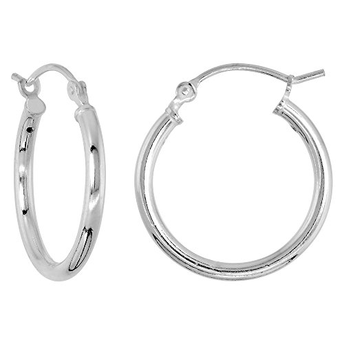 Sterling Silver Tube Hoop Earrings with Post-Snap Closure 2mm thick 3/4 inch round (Hoop Earrings 2mm Tubing)