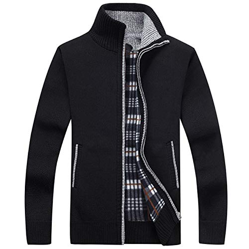 Sweater Men Zipper Male Sweaters Cashmere Wool Sweter Top Jacket,Black,XXL]()