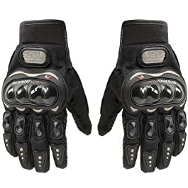 Probiker Synthetic Leather Motorcycle Gloves (Black, M)