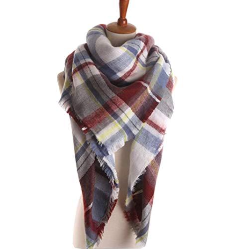 MOLERANI Womens Tassels Soft Plaid Tartan Scarf Winter Large Blanket Wrap Shawl (One Size, 05-Fuchsia2)