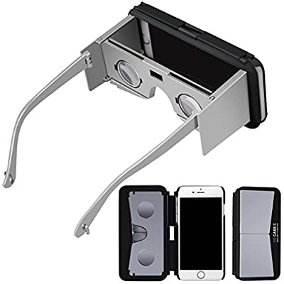Bolayu 3D VR Phone Case Virtual Reality Google Glasses for iPhone 6S + Remote Control Silver