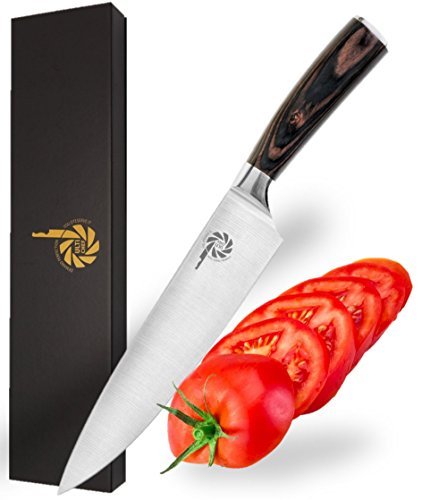 ULTICHEF Professional Gyutou Chef's Knife - Japanese Knives, Stainless Steel, 8 Inch Silver Blade, Ultra Sharp, Wooden Ergonomic Handle. Perfect for Cutting, Slicing, Dicing & Chopping