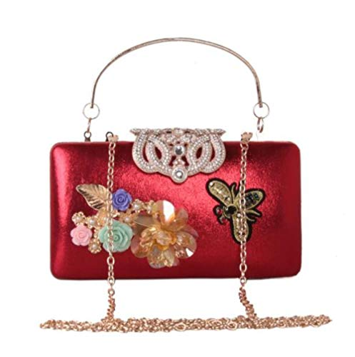 De Main 's Diamant Flower Red à Bag Perle De En Women Evening DHFUD Cuir Sac x5qEPv0Uw
