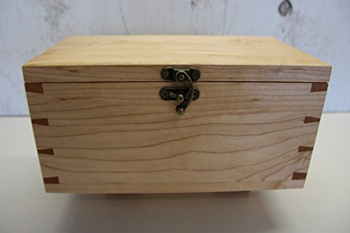 Wooden Keepsake Box, Hand Made Out Of Maple Wood, With Hand Cut Dovetails and Decorative Antique Hardware by Lyman Creek Woodworks