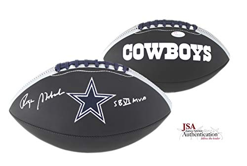 (Roger Staubach Autographed/Signed Dallas Cowboys Embroidered NFL Black Football With