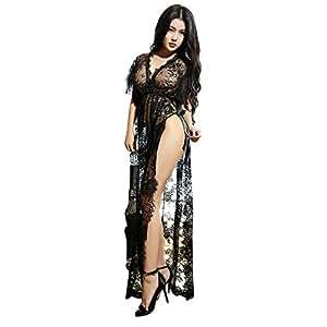 Ausexy Women Sexy Long Lingerie Nightdress Sleepwear Lace G string Dress See Though V Neck Underwear Babydoll Nightwear Bathrobe