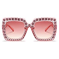 Women Oversized Rhinestone Square Sunglasses