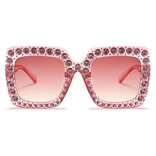 Armear Luxury Crystal Sunglasses Oversized Square Women Shades UV Protection (Pink, - Big Glasses Pink