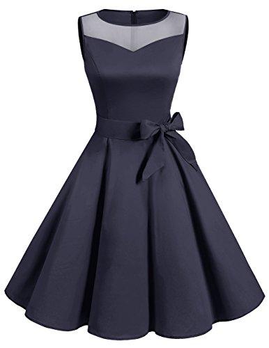 Dresstells reg; Vestido Mujer Corto Retro Vintage 1950 Sin Mangas Fiesta Boda Navy