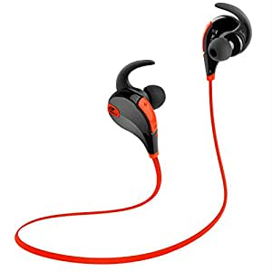 SoundPEATS Wireless Headphones Sport Bluetooth Earbuds Sweatproof Running Earphones (Bluetooth 4.1, 6 Hours Talk time, CVC 6.0 Noise Cancelling, with Mic) - Black&Red