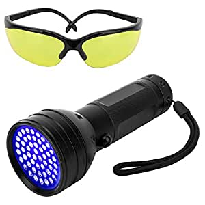 Pawaboo UV Blacklight Flashlight, 51 LED Ultraviolet 395nm UV Hand-held Detecting Torch for Pet Urine, Bed Bugs, Stains, Verifying Money Documents, UV Protecting Glasses Included, Black