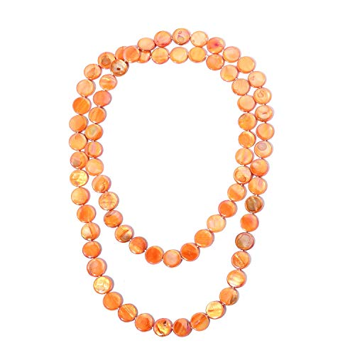 Shop LC Delivering Joy Beads Strand Endless Necklace for Women Orange Shell Jewelry Gift -