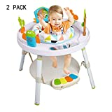 Dporticus 2 Pack Baby 3-Stage Jump Entertainers Activity Center Playful Multi-Function Jump&Rocking Chair with Toys and Music