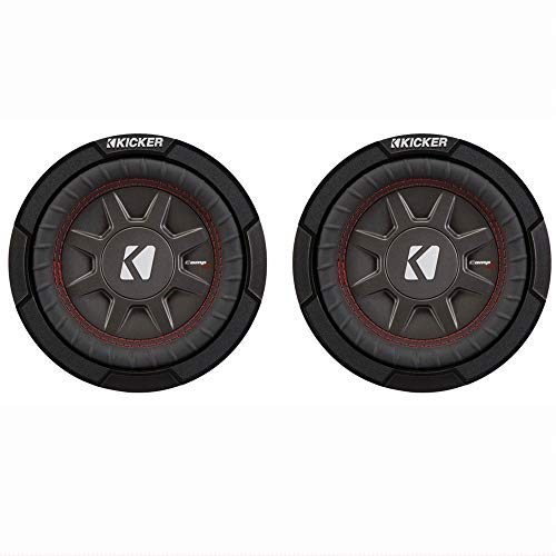 Kicker CompRT 6.75 Inch 300W Max 2 Ohm Shallow Slim Car Subwoofer (2 Pack)