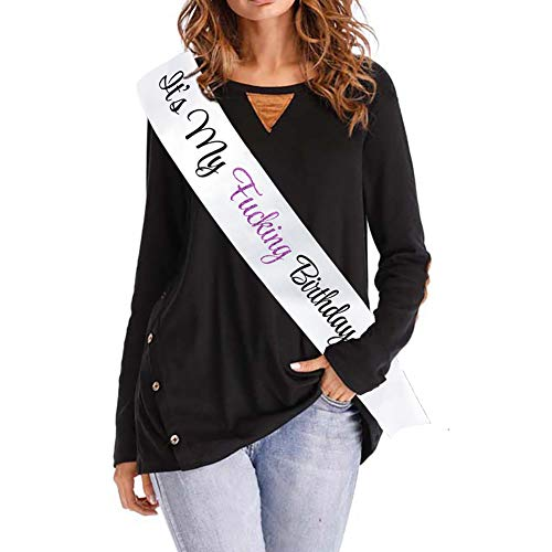 Blingbling Its My Fing Birthday Sash - White Satin with Black Fonts Violet Glitter Embroidery Purple - Birthday Party Supplies Decorations Girls 21st,30th,40th,50th,60th,70th,75th,80th Birthday ()
