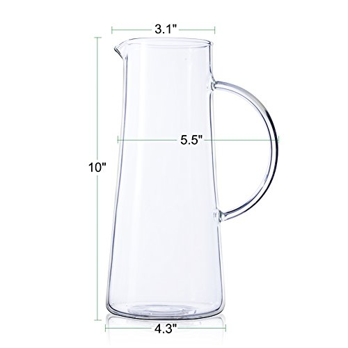 50 Ounces Glass Pitcher with Stainless Steel Lid Water Carafe for Juice and Iced Tea by SMAGREHO (Image #4)