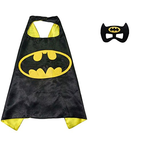 [Superhero or Princess Comics Cartoon Dress Up Costume Cape & Mask Set For Kids Toddlers Pretend Play (Black& Yellow] (Heroes And Villains Dress Up)