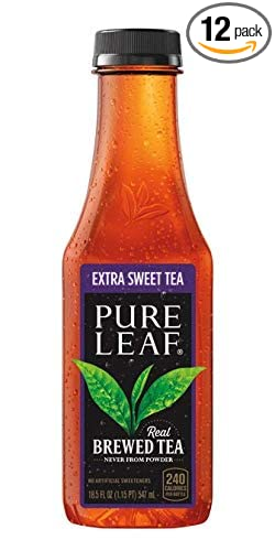 Amazon Com Pure Leaf Iced Real Brewed Black Tea Extra Sweet 18 5 Fl Oz Pack Of 12 Grocery Gourmet Food