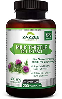 Zazzee Organic Milk Thistle 50:1 Extract, 200 Veggie Caps, 20,000 mg Strength, Potent 50:1 Extract, 80% Silymarin Flavonoids, Contains Organic Milk Thistle, Vegan, Non-GMO and All-Natural