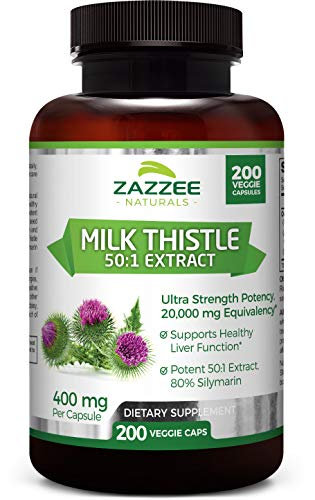 Zazzee Organic Milk Thistle 50:1 Extract, 200 Veggie Caps, 20,000 mg Strength, Potent 50:1 Extract, 80% Silymarin Flavonoids, Contains Organic Milk Thistle, Vegan, Non-GMO and All-Natural
