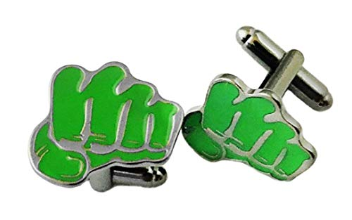 Main Street 24/7 Marvel The Hulk Fist Green Enamel Metal Cufflinks ()