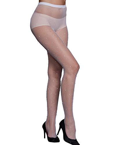 (CHRLEISURE Women's Sparkle Rhinestone Fishnets Sexy Tights High Waist Stockings White)