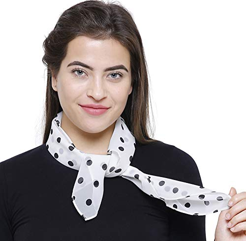 TC 50s Shop Vintage Style Sheer Chiffon Square Neck Scarf (Polka Dot White Black)