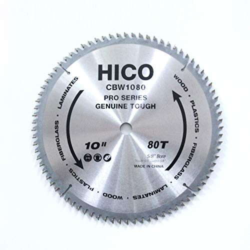 (HICO 10-Inch 80-Tooth ATB Miter Saw Blade Thin Kerf General Purpose Saw Blade with 5/8-Inch Arbor for Softwood Hardwood Plywood)