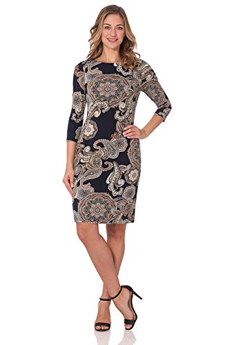 Rekucci Women's Classic Chic Shift Dress (14,Navy/Sand Paisley)