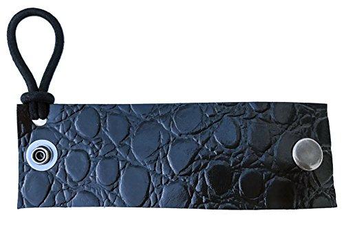 Black Crocodile Leather Ponytail Holder