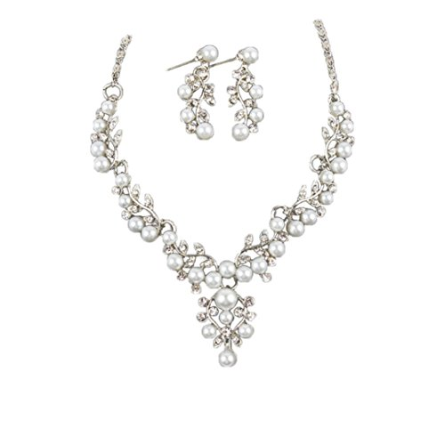 Dollar Costumes Jewelry (Fashion Necklace, UMFun Wedding Pearl Rhinestone Short Necklace Earrings Jewelry Set (silver))