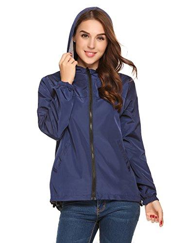 UNibelle Women's Windbreaker Sportswear Women's Plus-Size Splash A Little Rain Jacket(Navy Blue Grey,XX-Large)