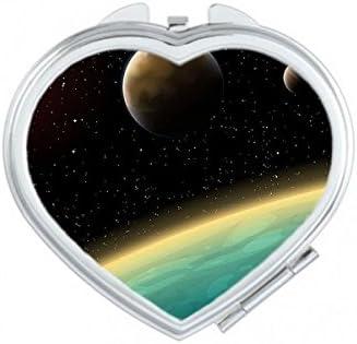 Een blauwe planeet en twee gele planeten in het universum illustratie patroon hart compacte makeup zak spiegel draagbare schattige kleine hand spiegels geschenk