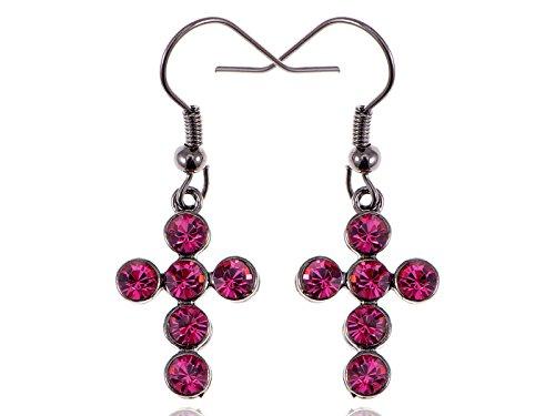 [Alilang Swarovski Crystal Element Silver Tone Pink Colored Rhinestones Cross Fish Hook Dangle] (Pink Fish Costumes For Sale)