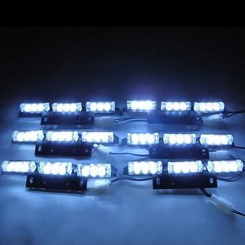Red +Blue HONG 111 LED Emergency Strobe Lights,4 Pack LED Warning Emergency Flashing Light Warning Hazard Strobe Light Bar For Car Truck Van Off Road ATV SUV