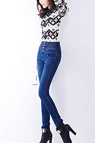 Les Blue Femmes Et Taille des Jeans Pantalon De Haute Mince Denim Long Taille rrf7Wq