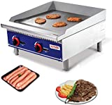 Commercial Countertop Manual Griddle - 24'' Heavy Duty Liquid Propane Flat Top Griddle - Restaurant Equipment for Barbecue - 60000 BTU