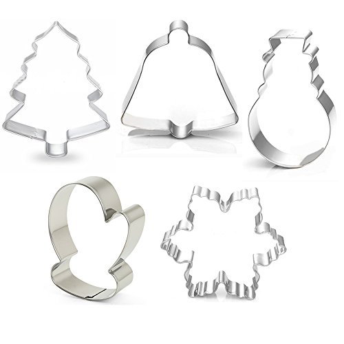 Stainless Steel Winter Christmas Cookie Cutter Mold (Set of 5, Snowflake, Christmas Tree, Snowman, Bell, and Winter Glove )