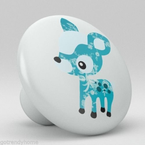 Cute Blue Polka Dot Deer Ceramic Knobs Nursery Pulls Kitchen Drawer Dresser 1087 by gotrendyhome