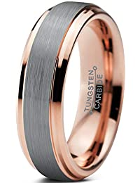 Tungsten Wedding Band Ring 6mm for Men Women Comfort Fit 18K Rose Gold Plated Beveled Edge Brushed Polished