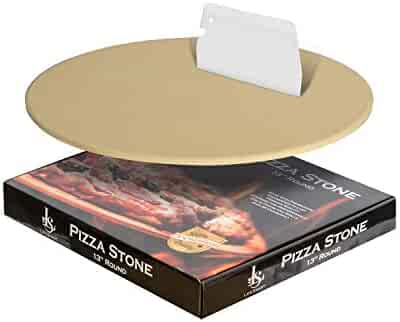LifeSmart Thermarite Pizza Stone and Bonus Scraper - 13 inches - Ideal for Crispy Crusts - Heat Safe for Use on Grills and in Ovens - Certified Safe - Includes Bonus Scraper