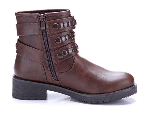 Schuhtempel24 Damen Schuhe Boots Stiefel Stiefeletten Blockabsatz Schnalle/Nieten 4 cm Braun