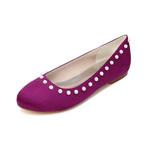 L@YC Mujeres De La Boda De Tacones altos Cerca De Los Zapatos De La Novia Multi-Color Flat Single Purple