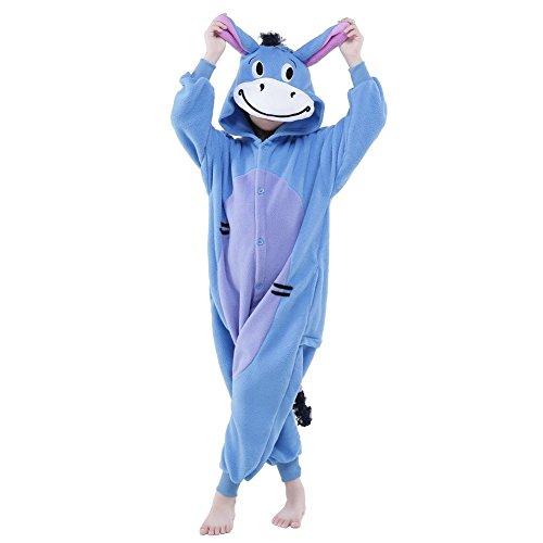 NEWCOSPLAY Kids Plush One Piece Cosplay Onesies Costume (95, Donkey) -